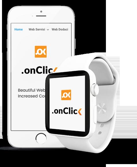 Beli telefon i beli pametni sat sa logoom web servisa naKlik