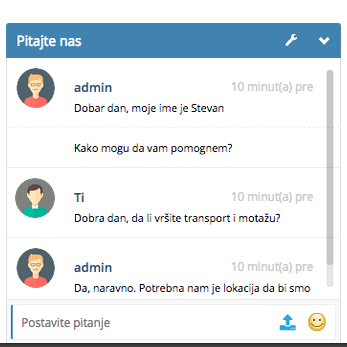 Izrada sajta NaKlik - Izgled chat-a - posetilac