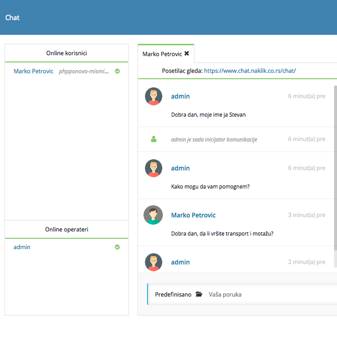 Izrada sajta NaKlik - Izgled chat-a - administrator