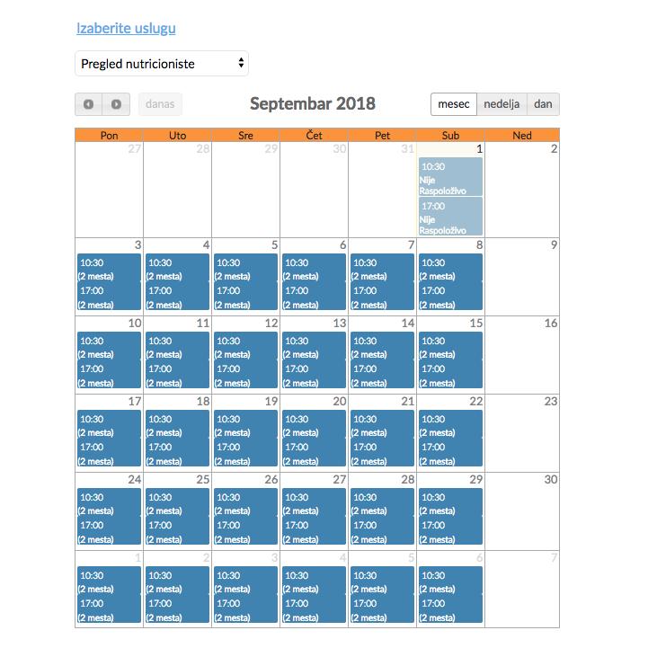 Izrada sajta NaKlik - Izgled kalendara