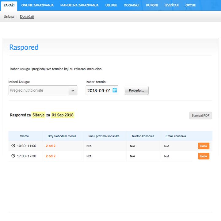 Izrada sajta NaKlik - Ručno zakazivanje kroz back office