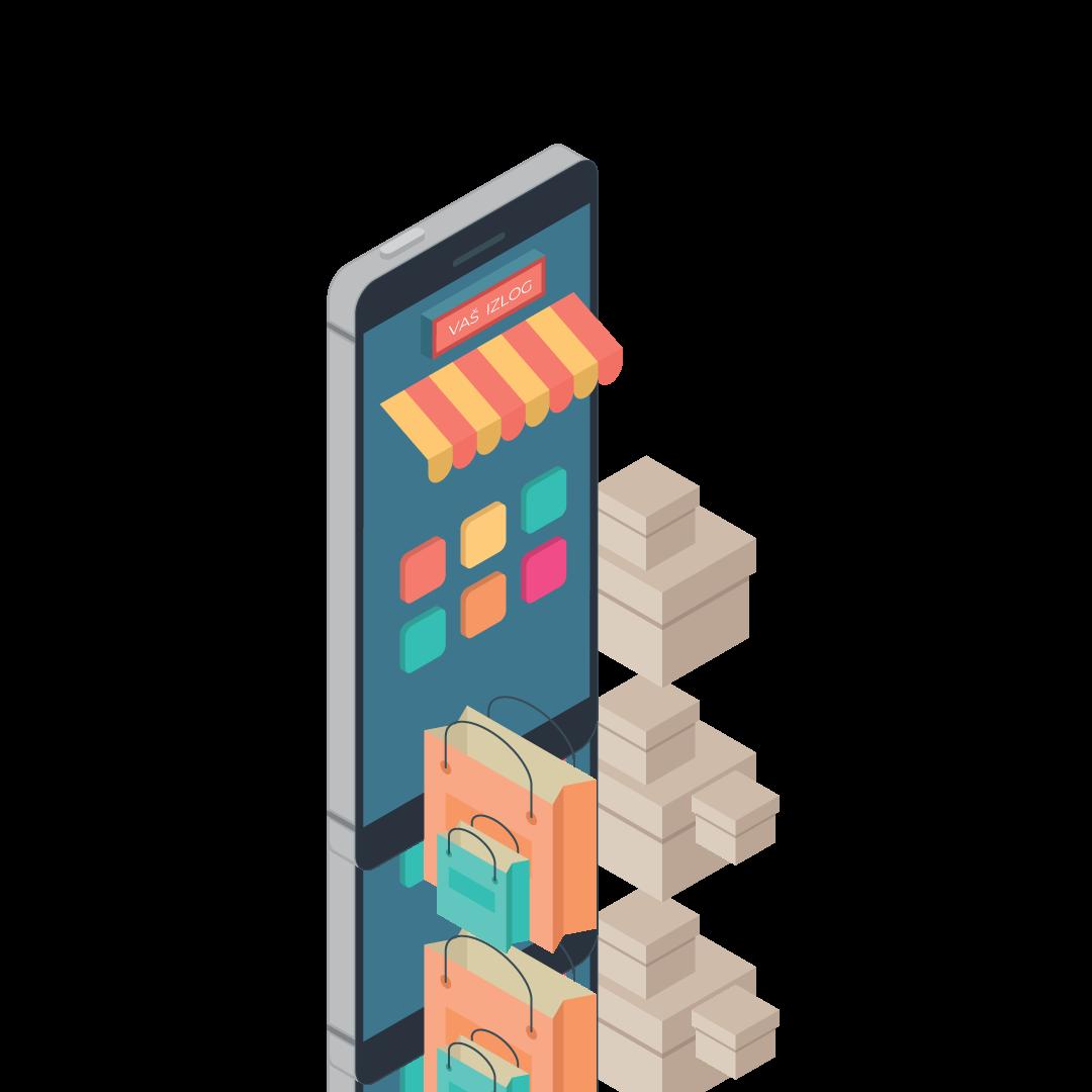 Ilustracija mobilnog telefona iz kojeg izlazi internet prodavnica sa kesama i kutijama