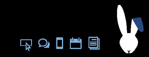 Poster zaštitnog znaka Web servisa naKlik belog zeca sa ikonicama svih usluga