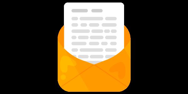 Ilustracija otvorene žute koverte u kome se nalazi pismo na belom papiru