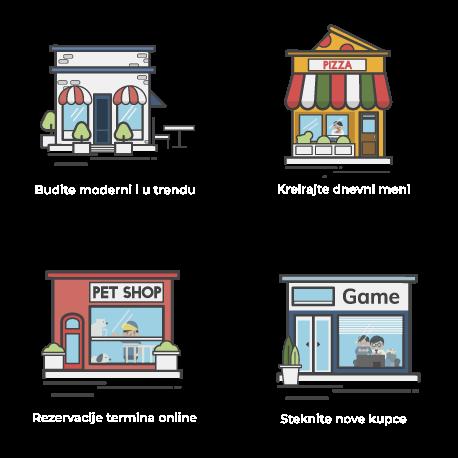 Ilustracija prodavnica kojima je internet poboljšao posao: rezervacija termina, novi kupci, dizajn u trendu, dnevni meni