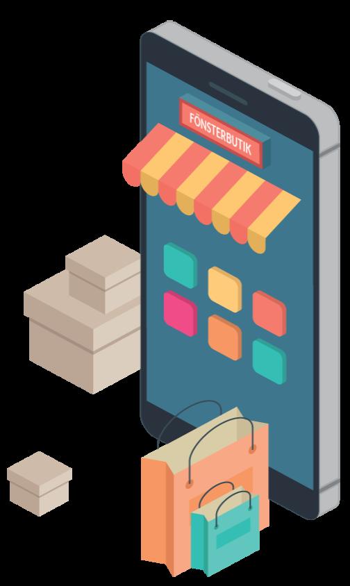 Ilustracija telefona čiji ekran predstavlja ulaz u prodavnicu