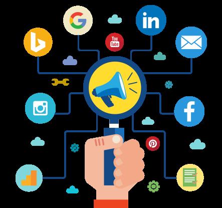 Ilustracija lupe koja gleda u megafon i koja je okružena ikonicama za socijalne mreže