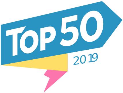 Plavi logo sa belim slovima Top 50 PC Press