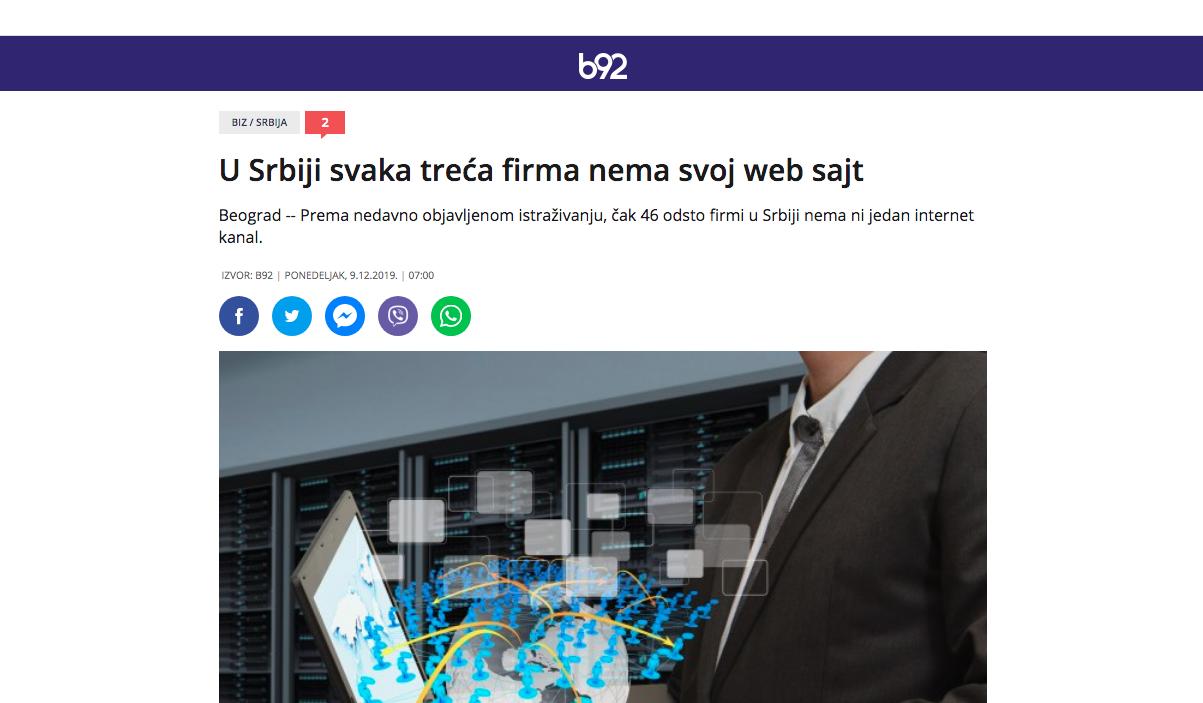 """Slika ekrana na kom se nalazi vest portala b92 sa naslovom""""U Srbiji svaka treća firma nema svoj web sajt"""""""