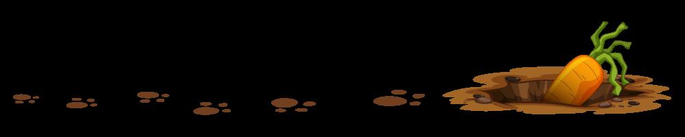 Ilustracija zečijih šapica i rupe u kojoj se nalazi šargarepa