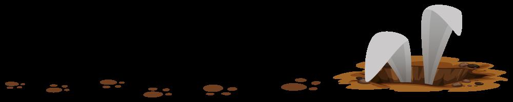 Ilustrovane šapice i uši zeca koji viri iz rupe