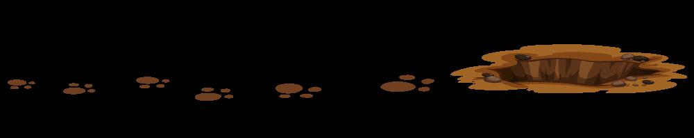 Ilustrovane zečije šapice i rupa u kojoj se krije zec