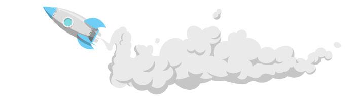 Ilustracija: Raketa koja leti i oblak dima iza nje