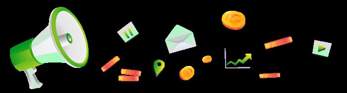 Ilustracija megafona i alata za izradu web sajta