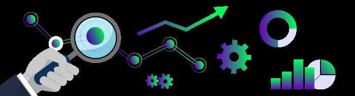 Ilustracija elemenata istraživanja i zekine ruke koja drži lupu