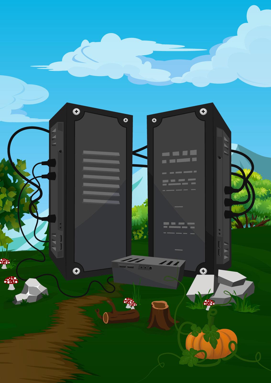 Ilustracija: Ogromni serveri koji se nalaze u digitalnoj šumi
