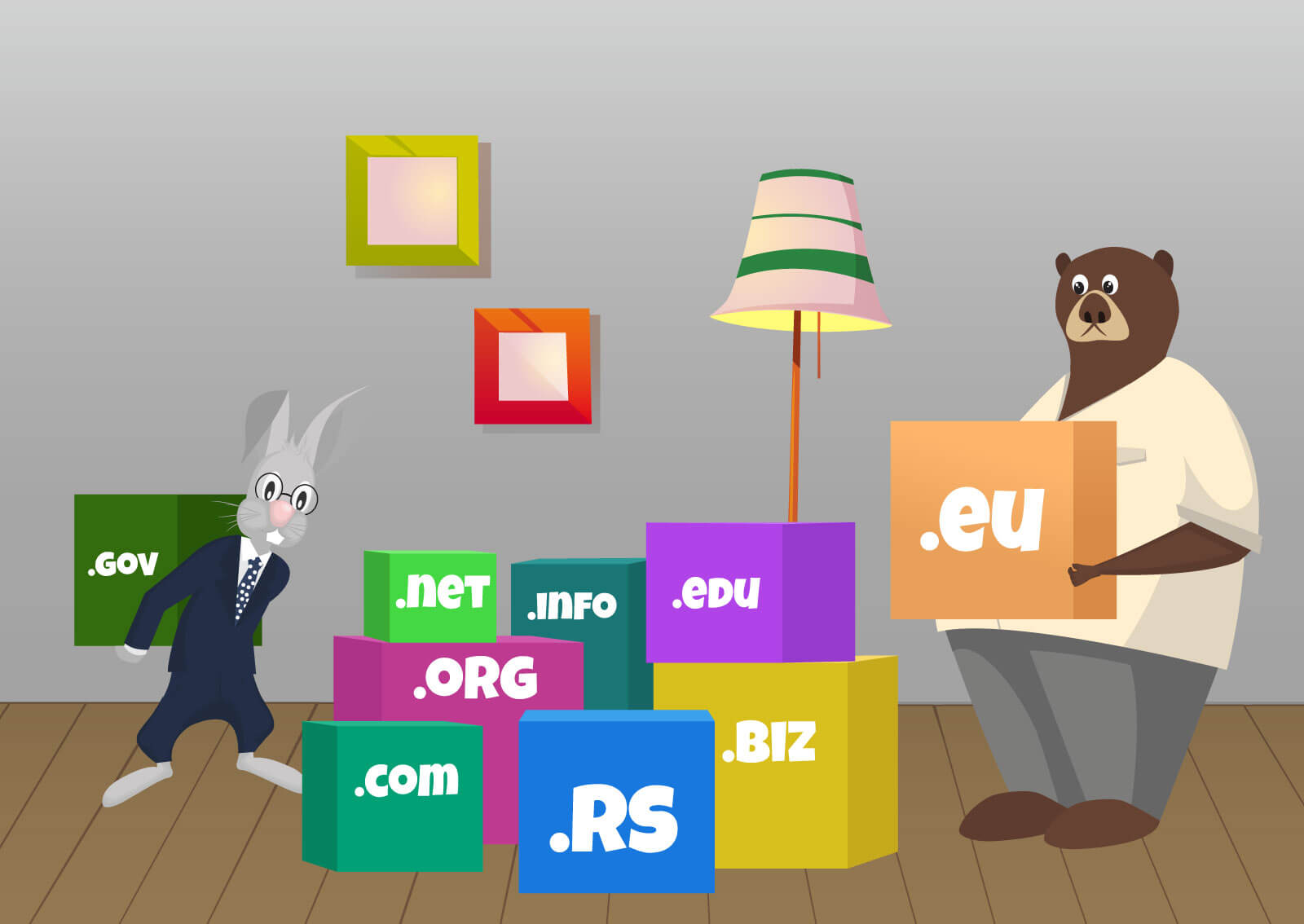 Ilustracija zaštitnog znaka web servisa naKlik zeca kako sedi sa medvedom na terasi i pije kafu.