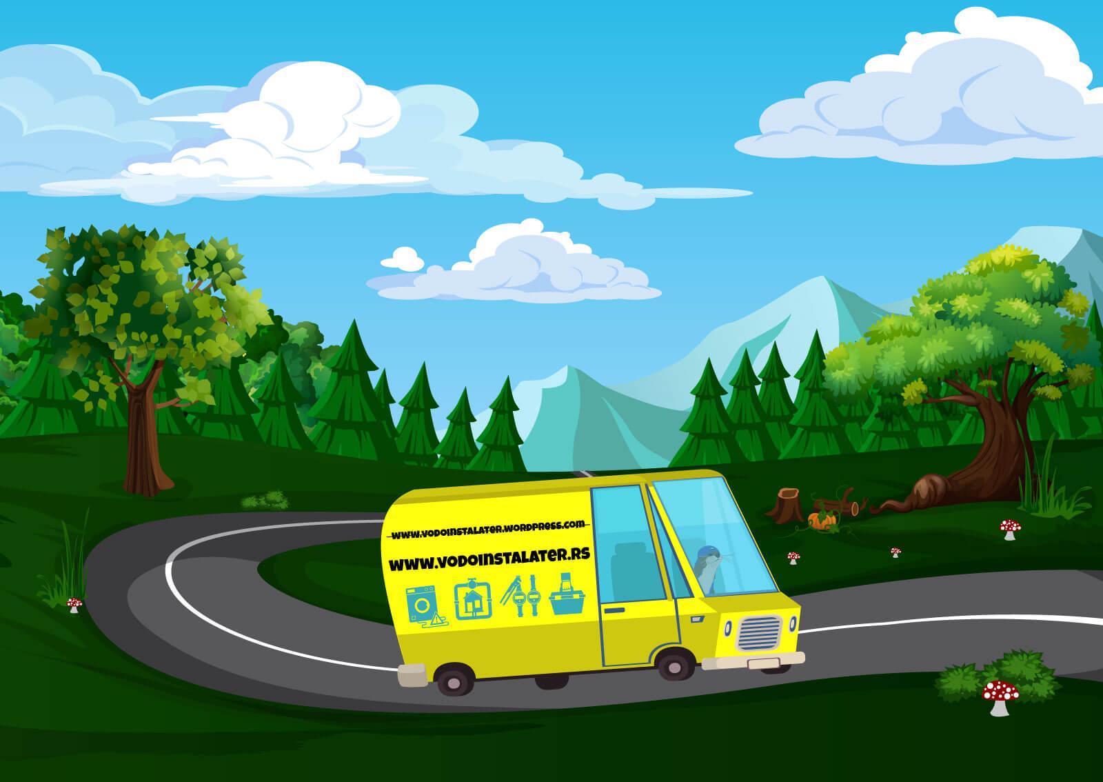 Ilustracija vidre koja vozi žuti kombi kroz digitalnu šumu a na kombiju piše ispravan domen