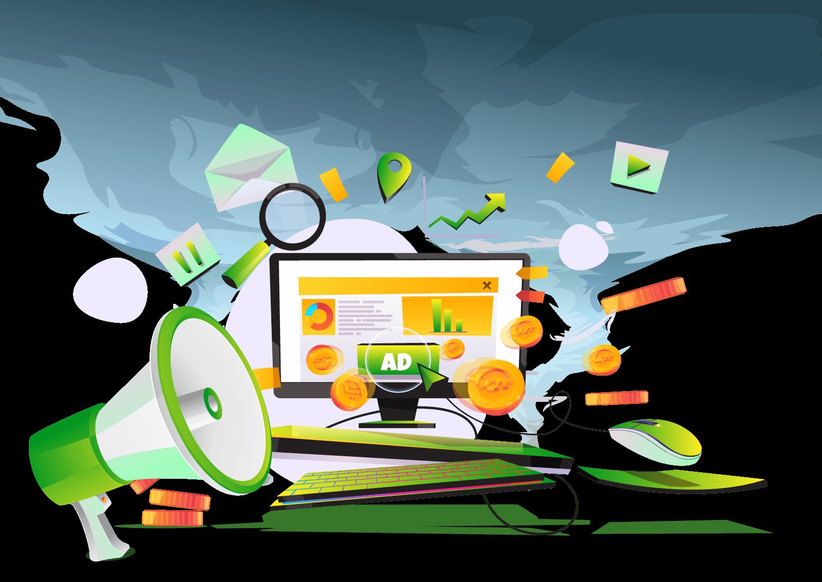 Ilustracija megafona i kompjutera koji aludiraju na to kako oglašavanje i Google AdSense može doneti zaradu