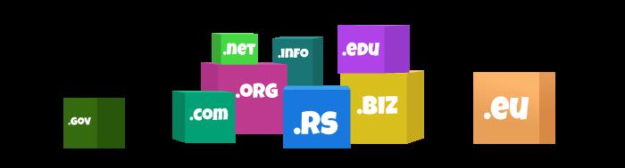 Ilustracija šarenih kutija na kojima pišu različiti domeni