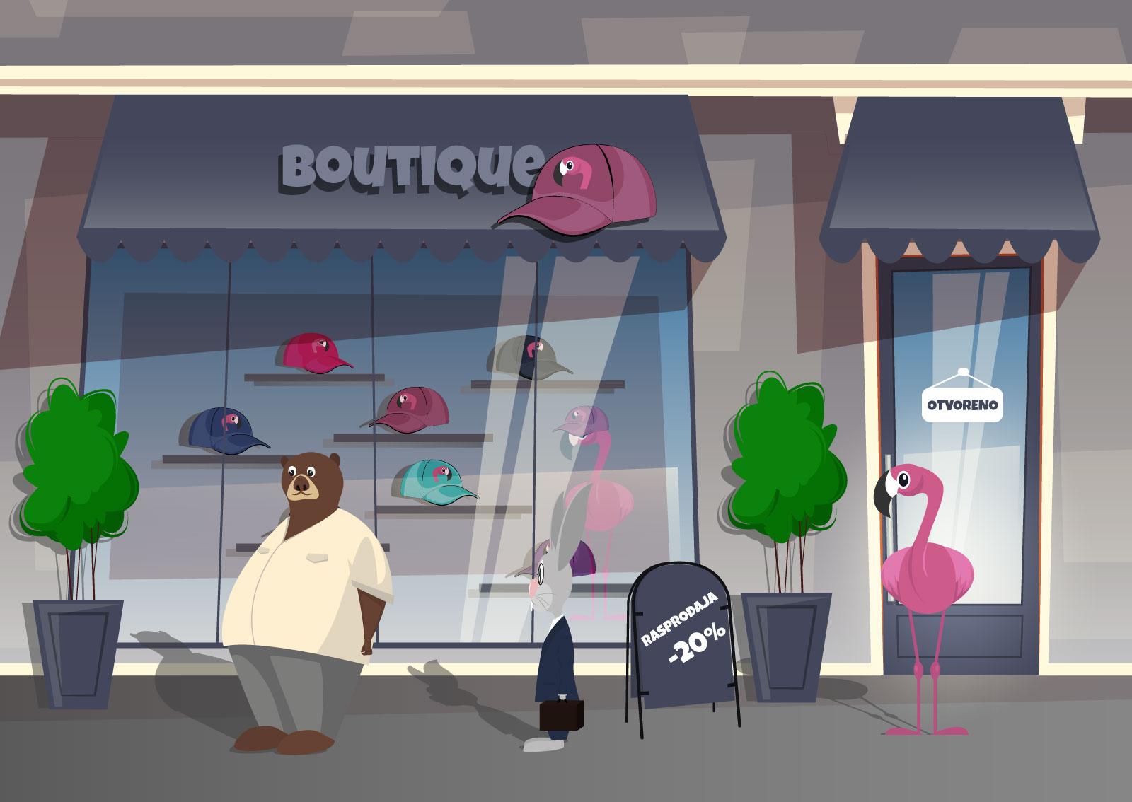 Ilustracija avatara Bogdana u liku medveda koji prodaje kačkete za flamingose