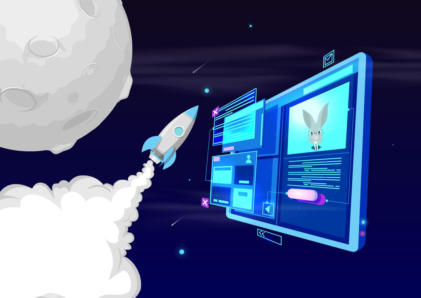 Ilustracija rakete koja leti ka mesecu, a prati je web sajt na kojem se nalazi slika zeca.