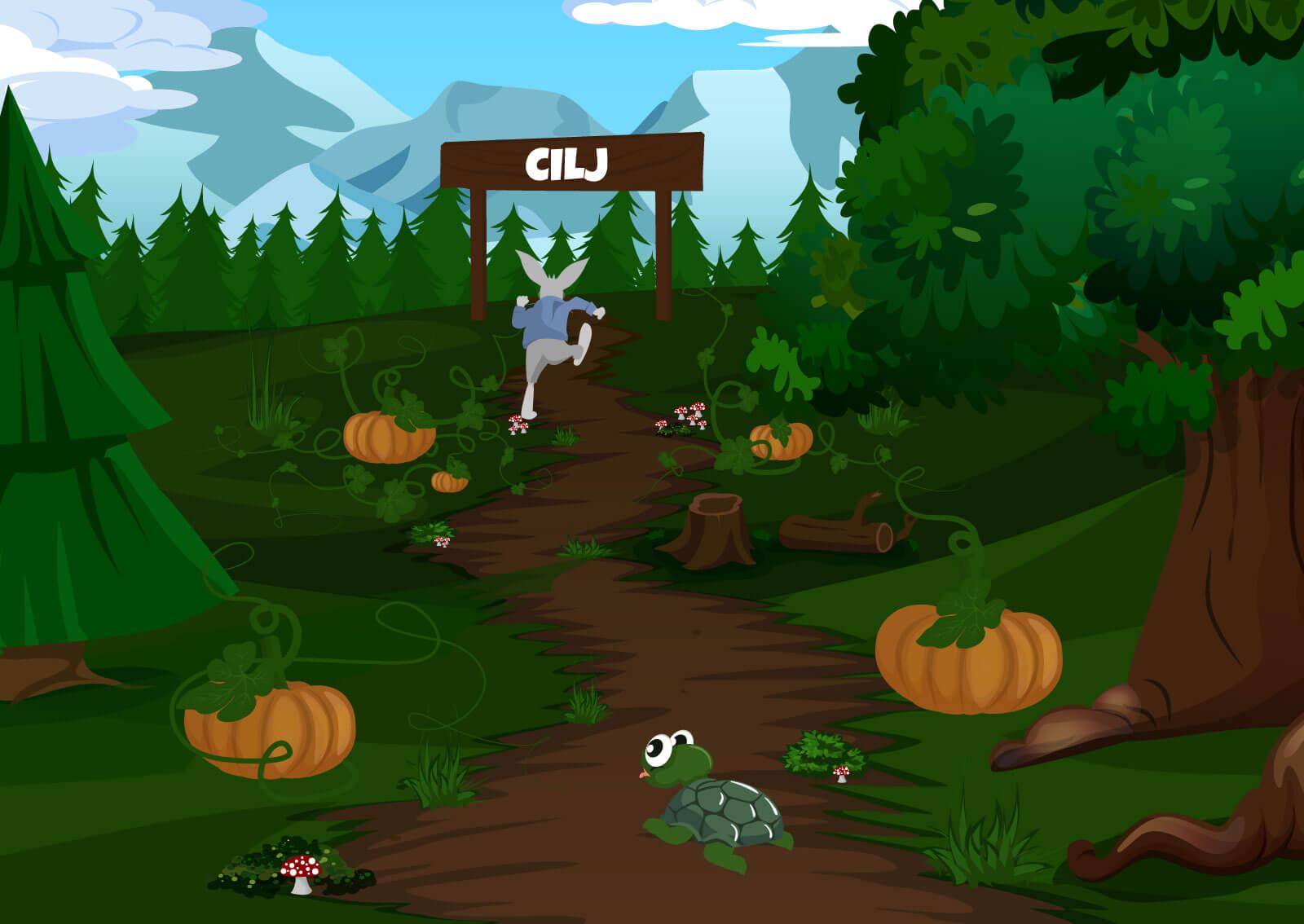 Ilustracija zeca koji trži kroz cilj, a kornjača zaostaje za njim. Simbolika brzine sajta i važnosti optimizacije