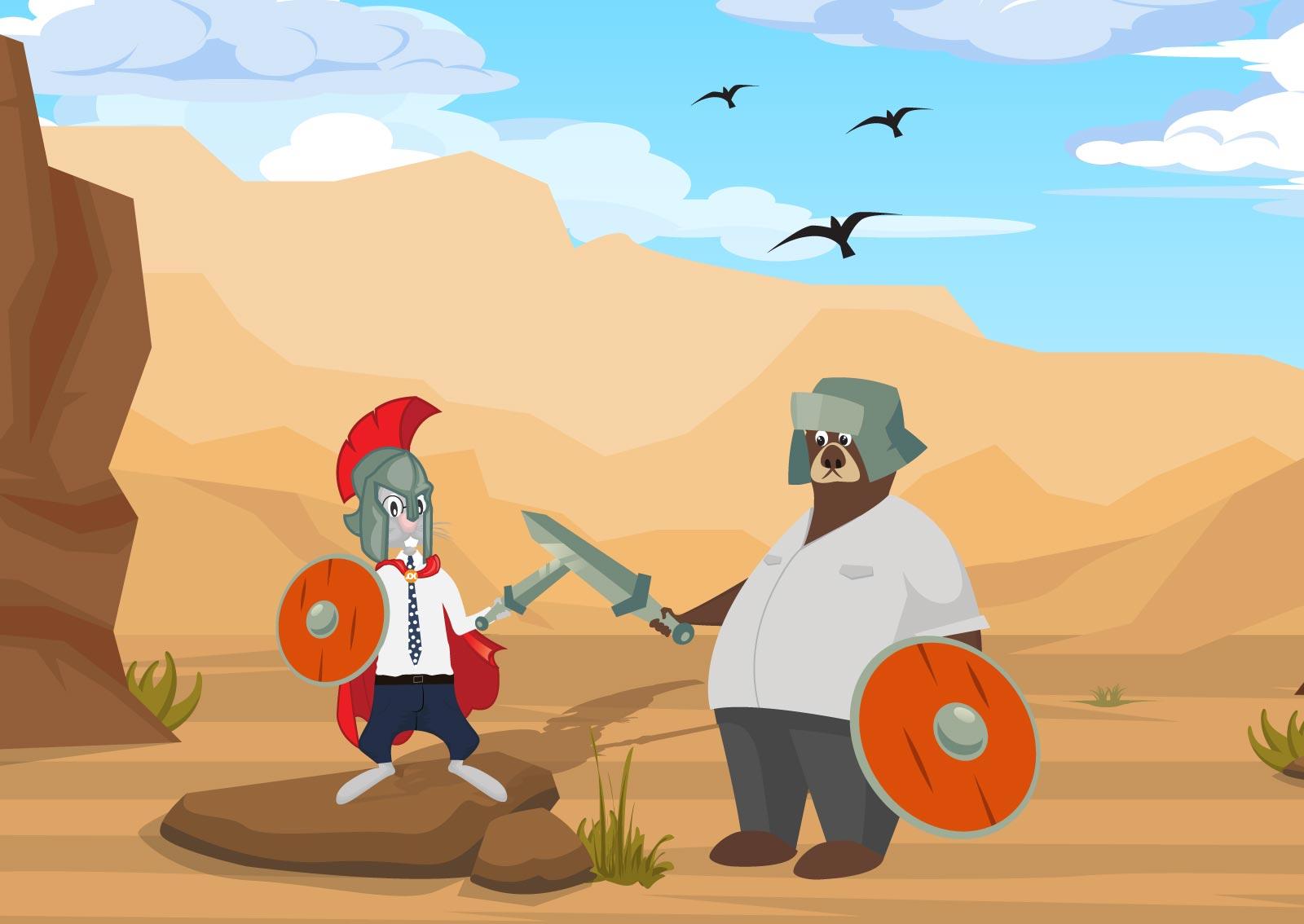Ilustracija borbe titana prezentacionog web sajta i one page web sajta, koju simbolišu meda i zeka sa mačevima