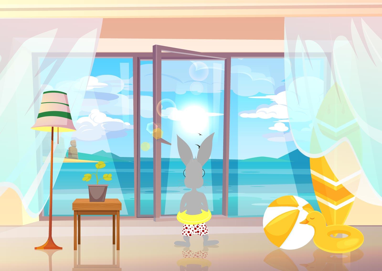 Zaštitni znak web servisa naKlik, sivi zec na letovanju gleda kroz prozor na more