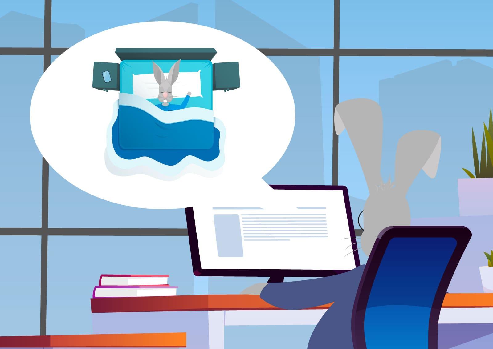Ilustracija zeca kako pretražuje proizvode sa interneta na Google-u i razmišlja o spavanju.