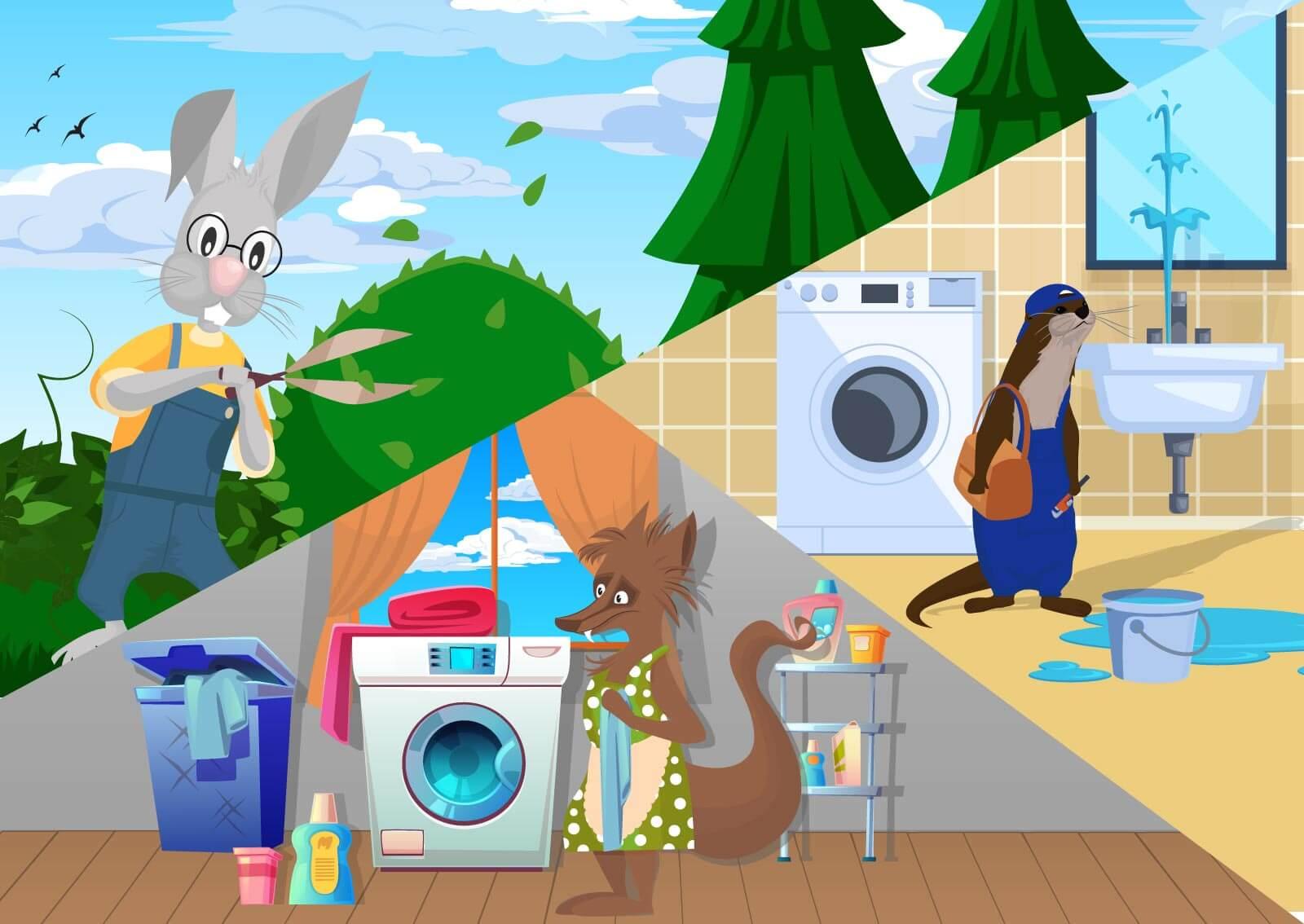 Ilustracija: zec baštovan, lisica pere veš i vidre kao vodoinstalater- usluge koje mogu primeniti one page business website