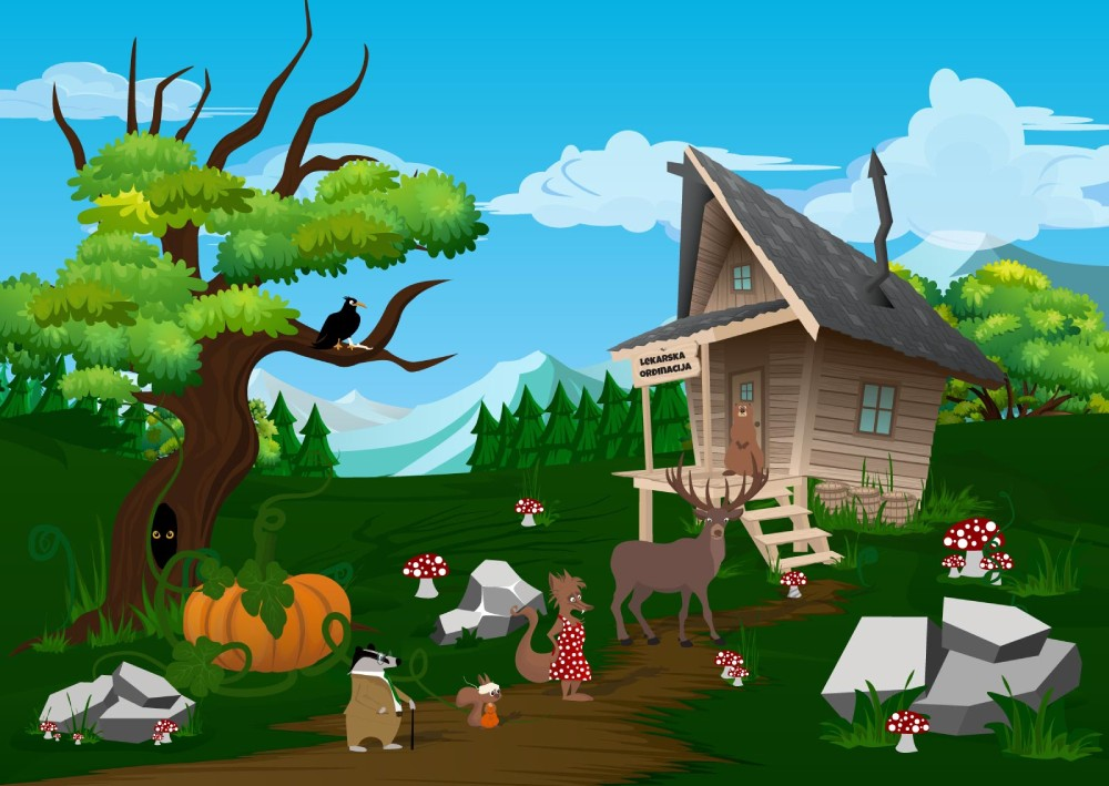 Ilustracija životinja u redu ispred kućice u šumi koja predstavlja primer kako izgleda povećanje prodaje i broja kupaca