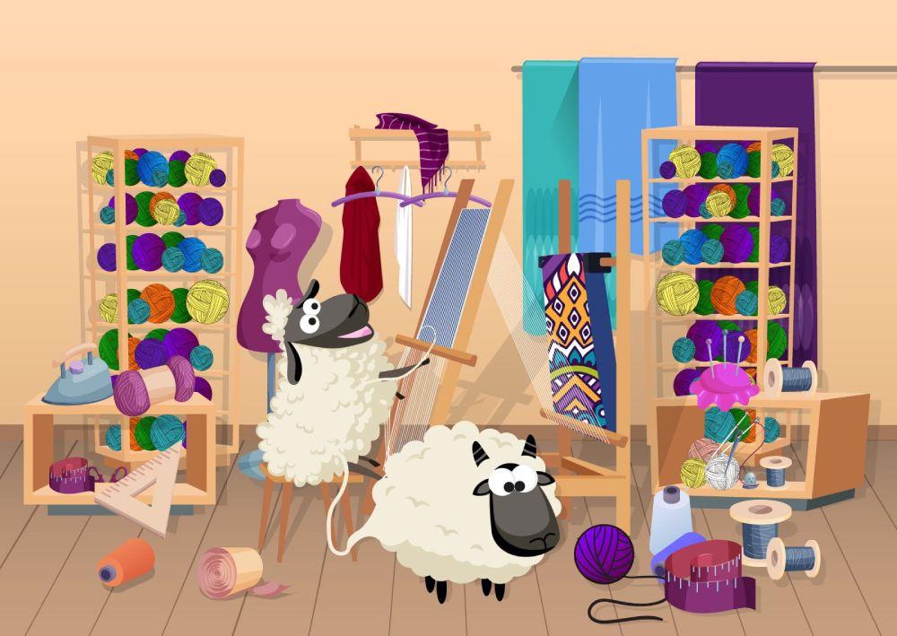 Ilustracija ovaca u radnji gde od svoje vune prave šarene džempere i tepihe.