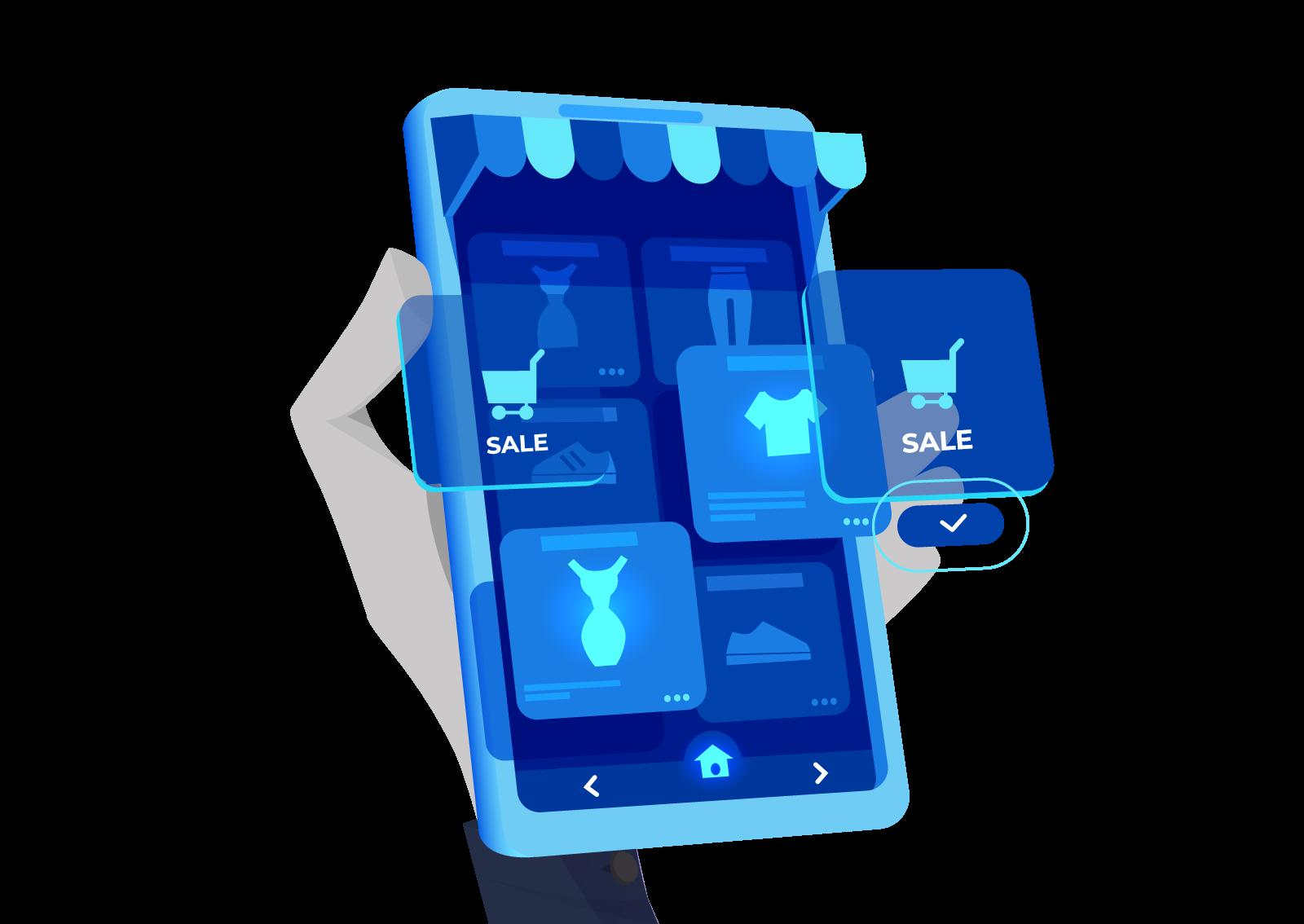 Ilustracija zečja šapa koja drži mobilni telefon na kojem se vidi internet prodavnica i akcije na njoj.