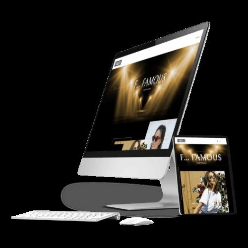 Prikaz Famous sajta na monitoru i tabletu