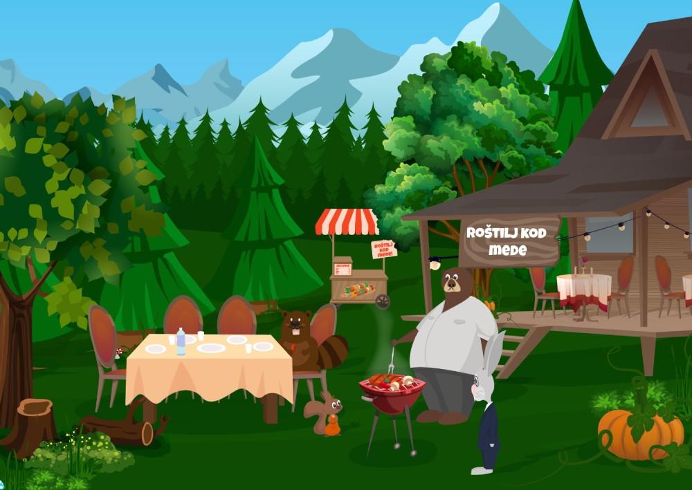 Ilustracija mede koji pravi roštilj ispred kolibe i pokazuje koliko poslovanje bez web sajta izgleda neprofesionalno