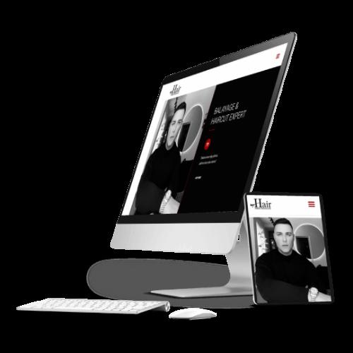 Prikaz MrHair sajta na monitoru i tabletu