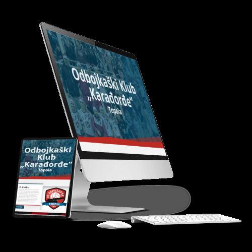 Prikaz sajta odbojkaškog kluba Karađorđe na monitoru i tabletu