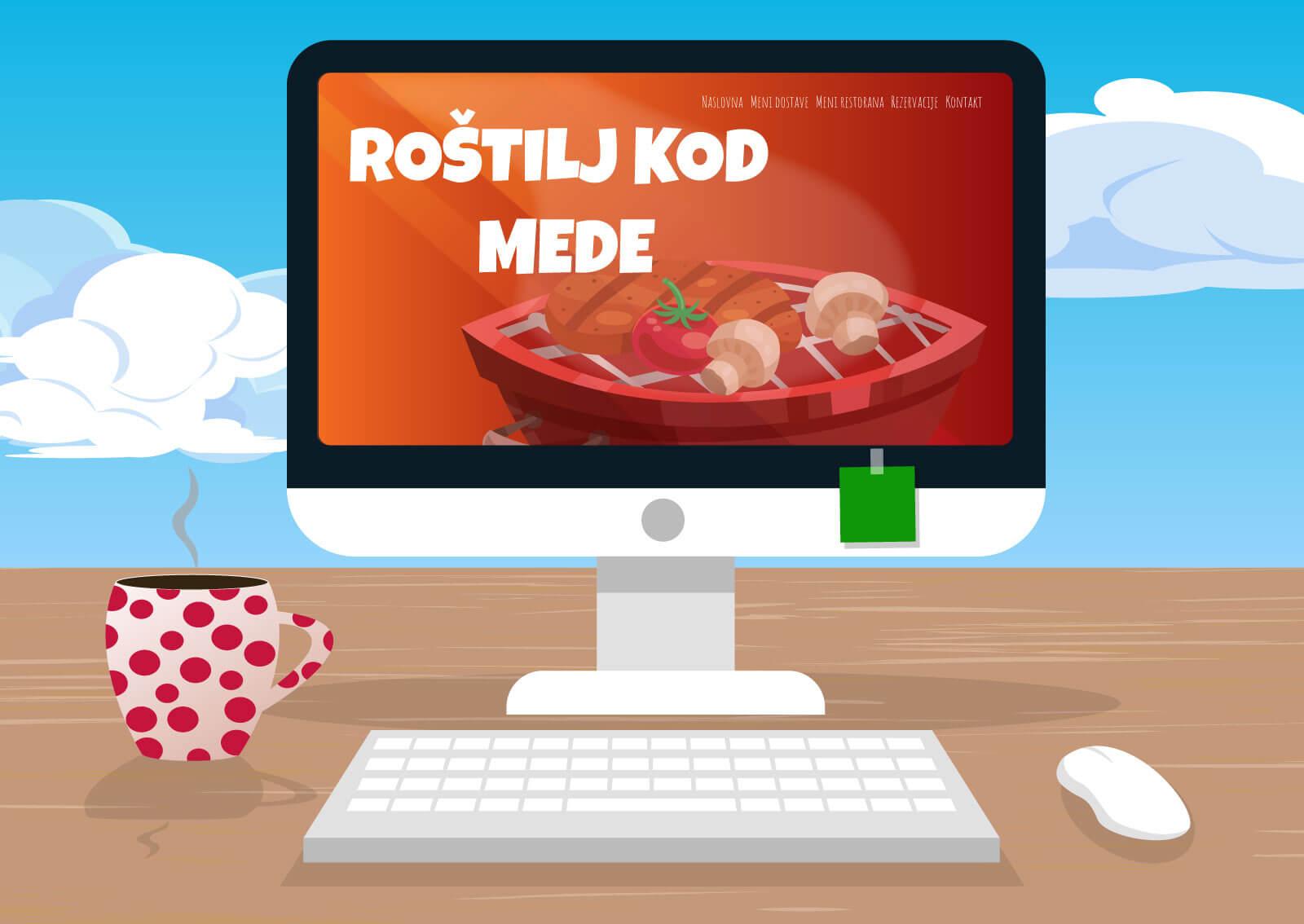 """Ilustracija računara na kojem je otvoren prezentacioni web sajt sa natpisom """"Roštilj kod mede"""" i menijem iznad."""