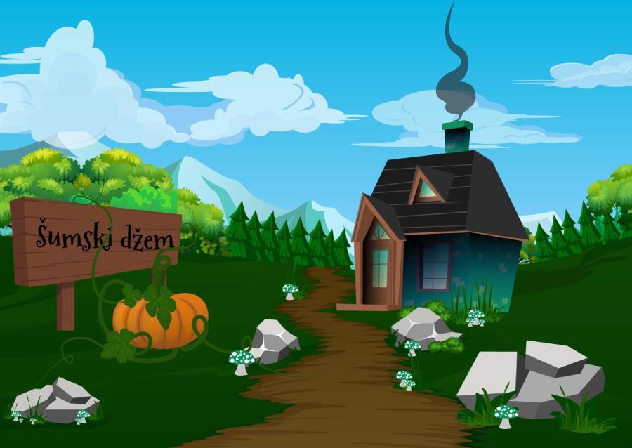 Ilustracija kuće u šumi ispred koje stoji natpis šumski džem i u kojoj veverica Mica prodaje svoje proizvode