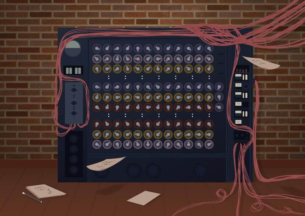Ilustracija prvih mašina za učenje i razvijanje veštačke inteligencije