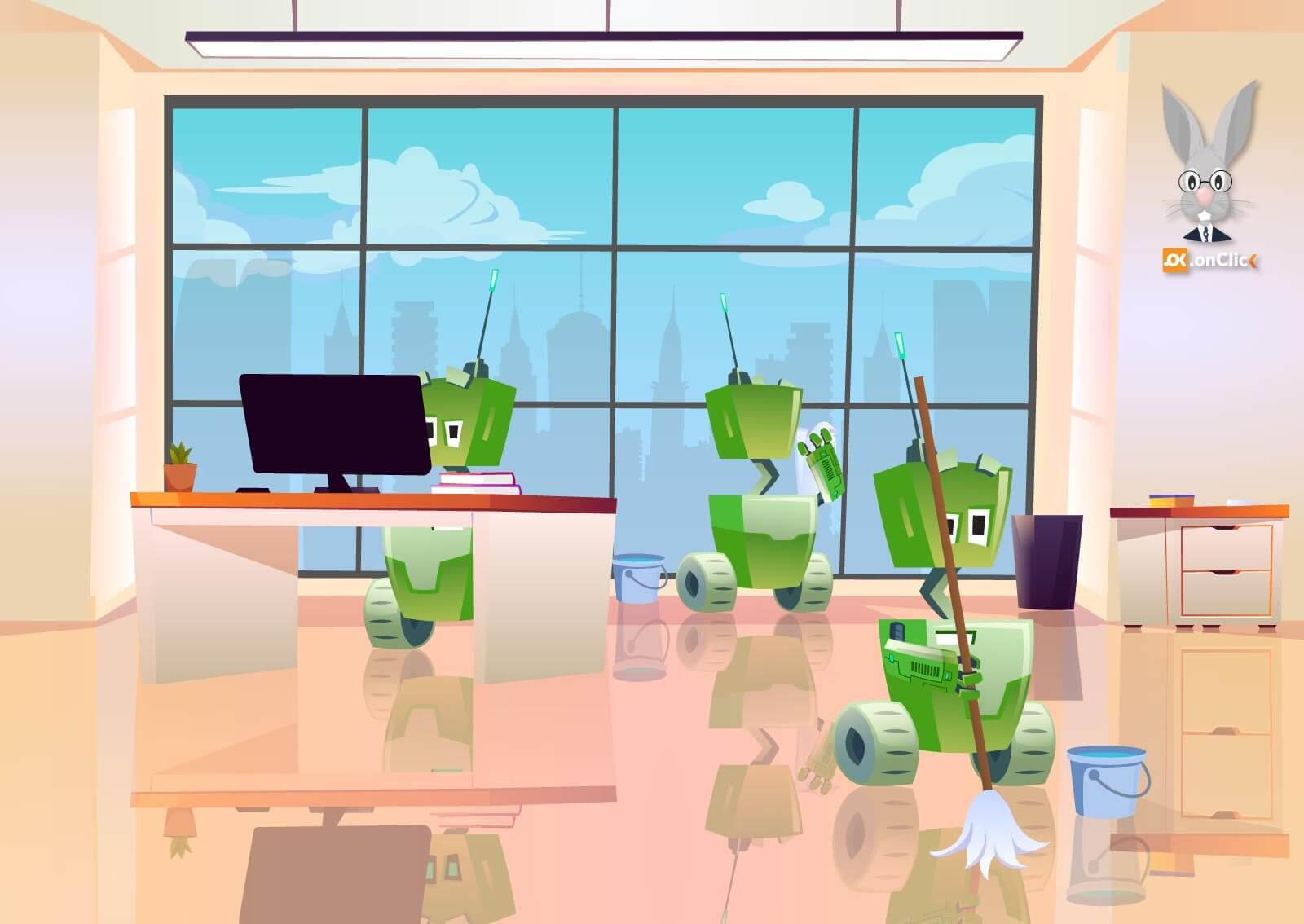 Ilustracija robota koji čiste, brišu prozore i upravljaju kompjuterom u Web servisu naKlik