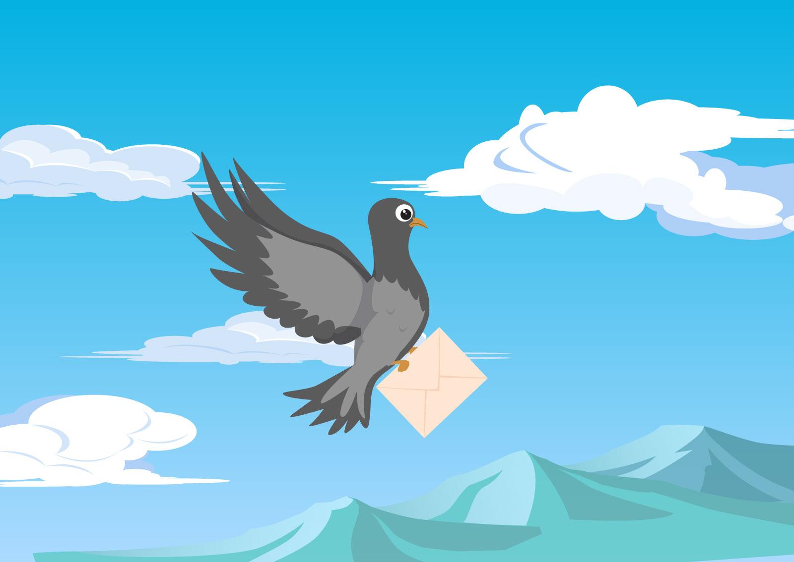 Ilustracija goluba koji nosi poštu