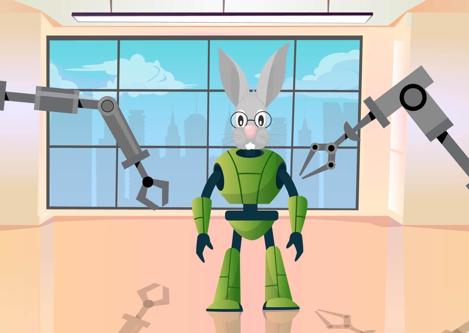 Ilustracija zaštitnog znaka Web servisa naKlik zeca koji je obučen u robota
