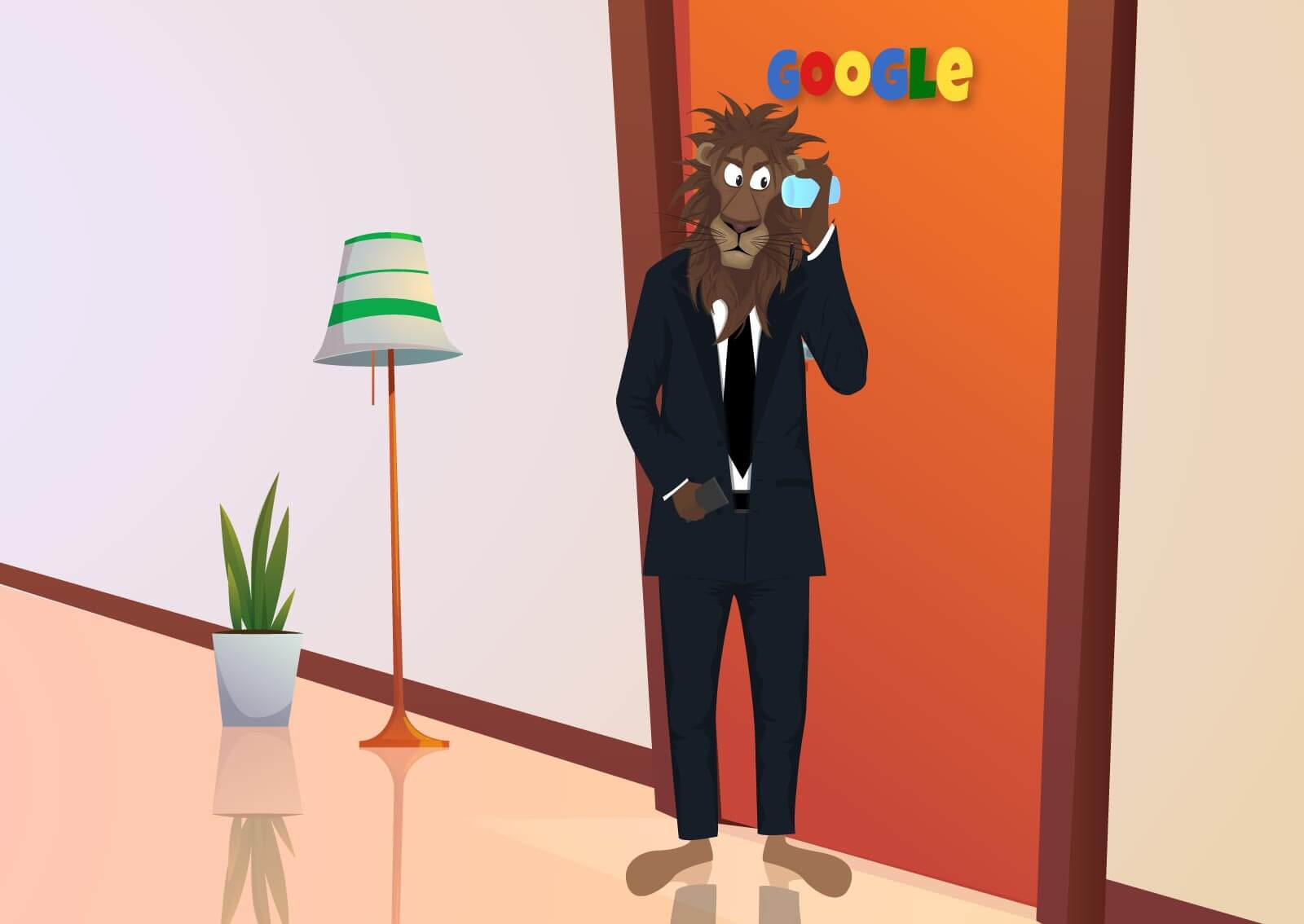 Ilustracija lava koji prisluškuje na vratima na kojima piše Google