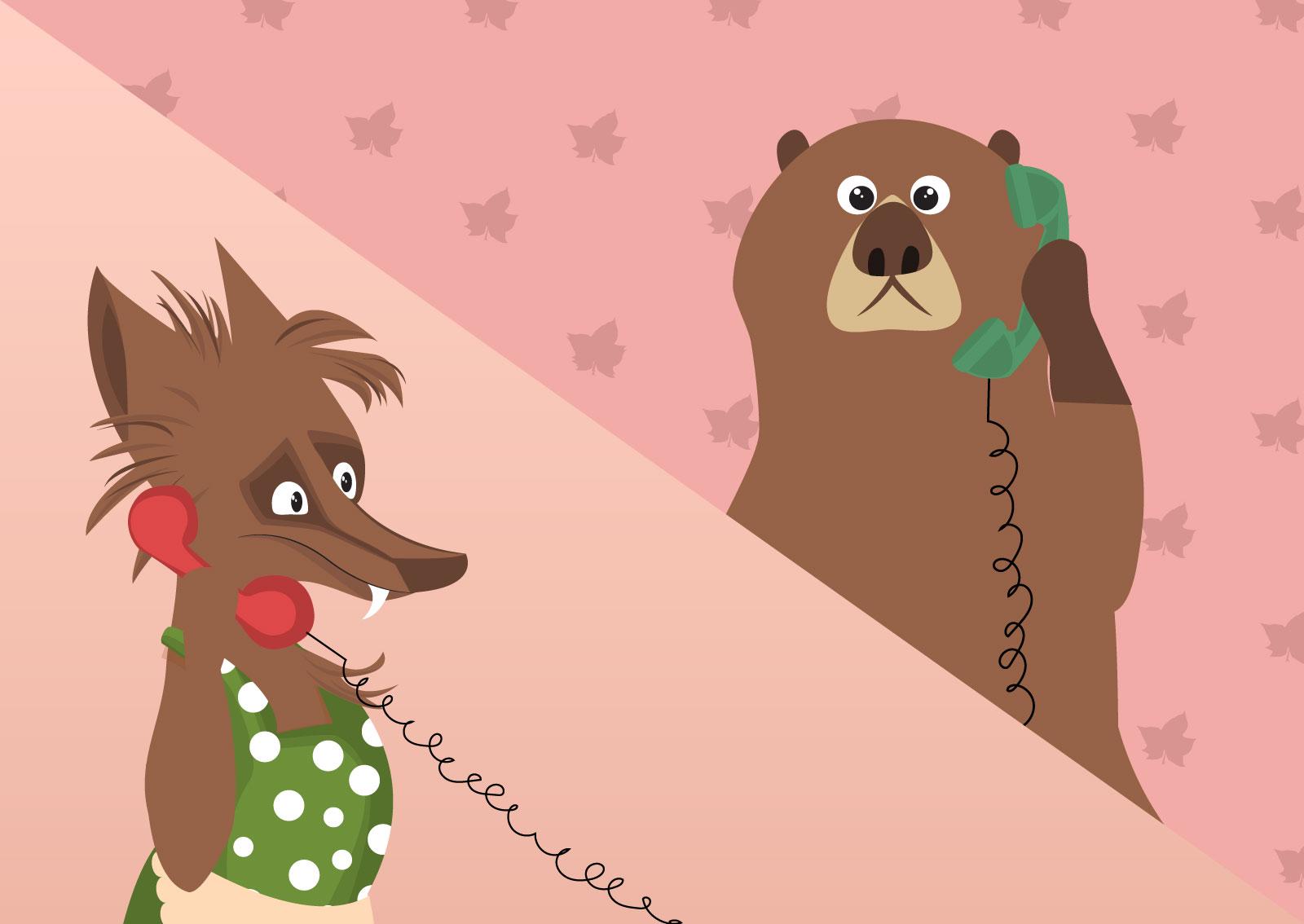 Ilustracija lisice i medveda koji razgovaraju telefonom