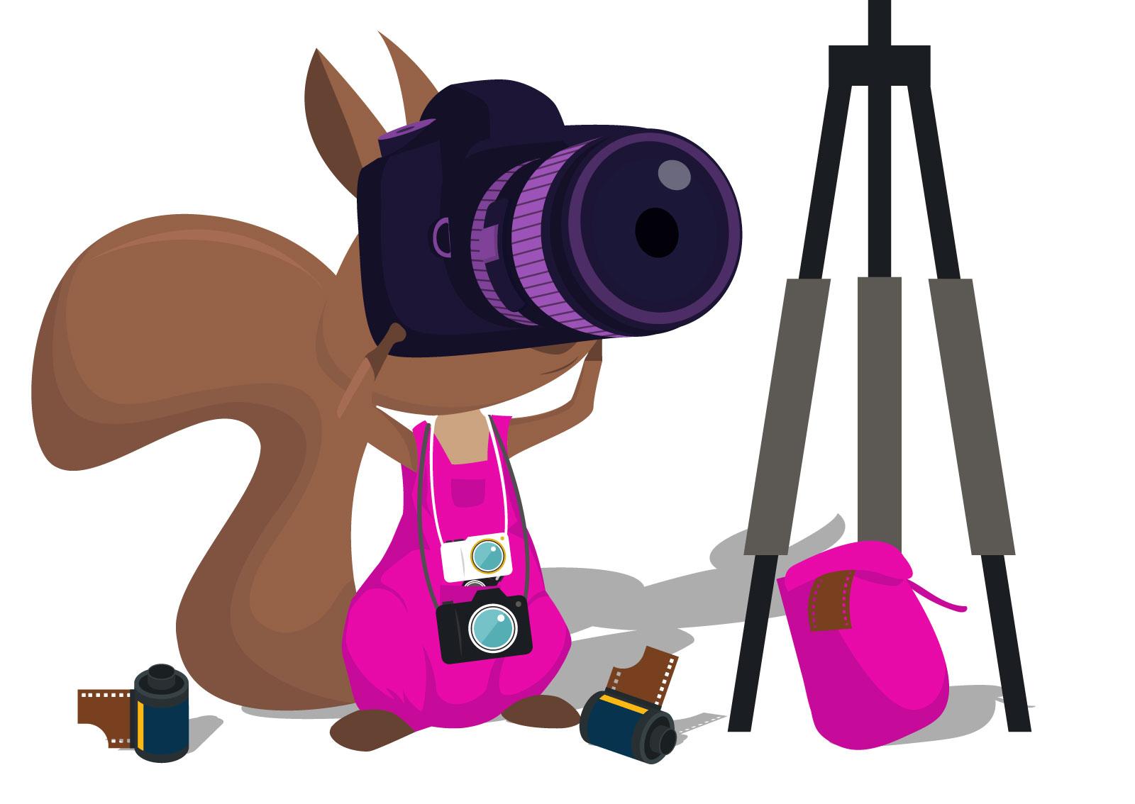Ilustracija veverice sa fotoaparatom koji slika za Google My Business