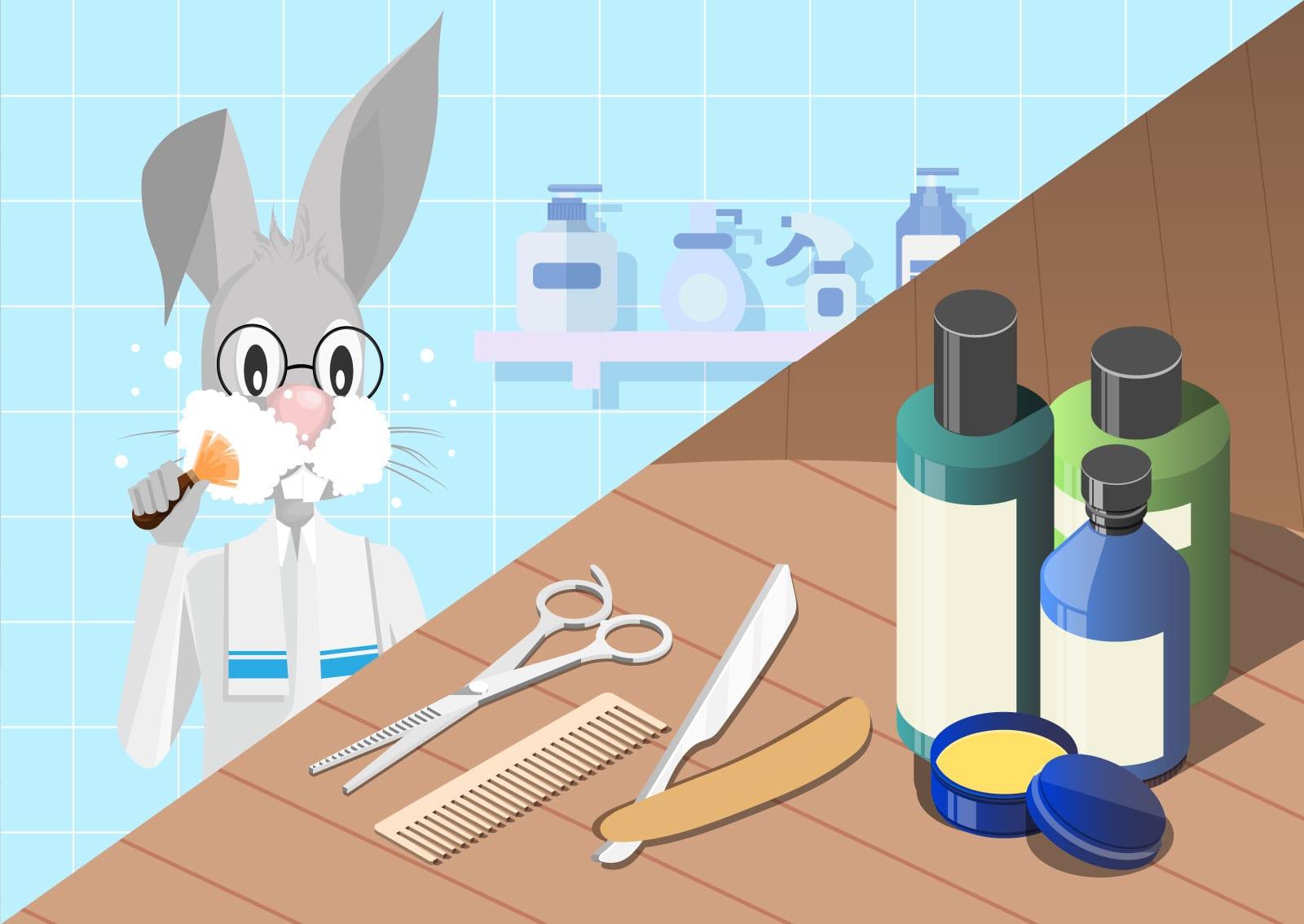 Ilustracija zeca koji koristi preparate za brijanje i održavanje krzna