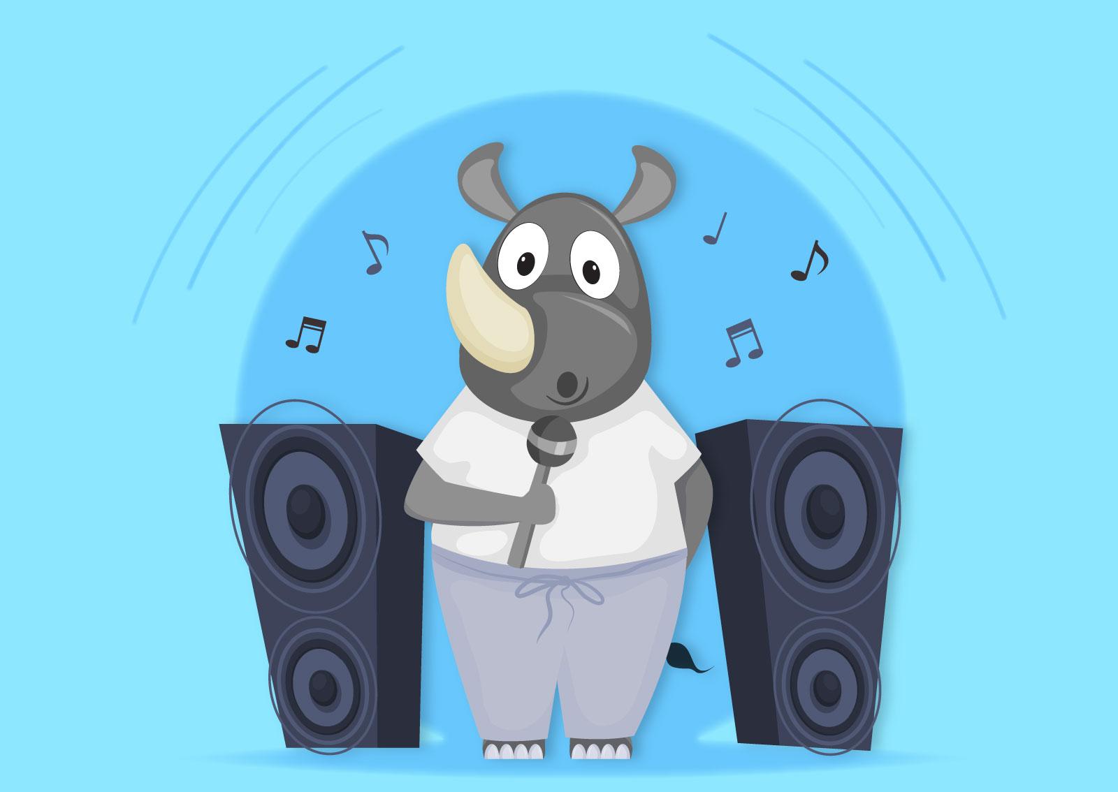 Ilustracija nosoroga koji peva, a zvučnici su pojačani na maksimum i šire njegov dobar glas