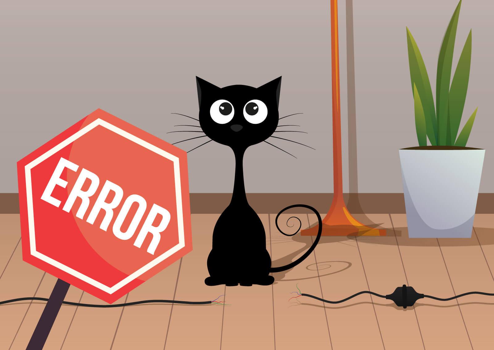 Ilustracija mačke koja je pregrizla kablove tako da društvene mrže više ne rade.